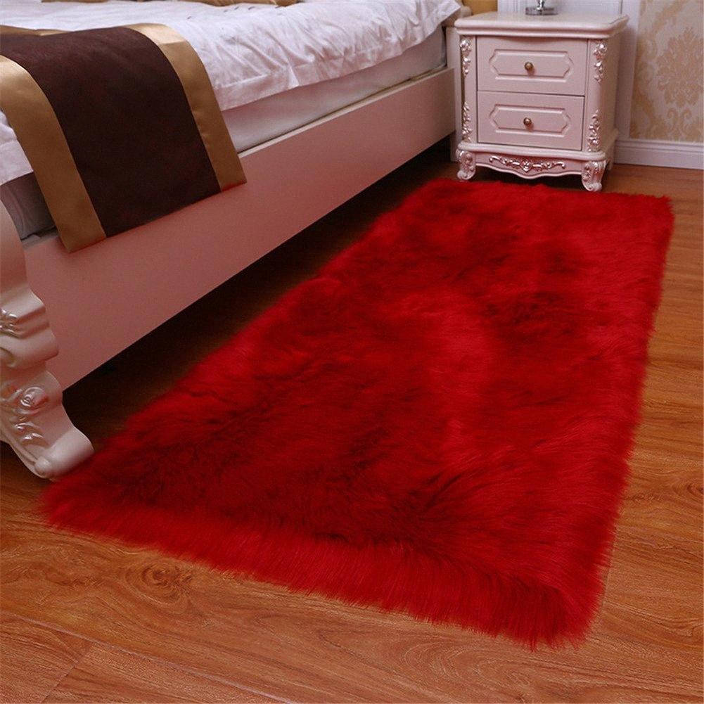 1pc artificielle laine Tapis Shaggy Fluffy Les tapis Salon Chambre GQ999 QMWR #
