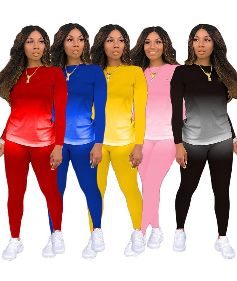 Womens Trainingsanzüge Langarm Hoodie Outfits Hemdhose Zweiteiler Set Skinny Hemd Strumpfhosen Sportanzug Pullover Hosen Heißer Verkauf KLW5602