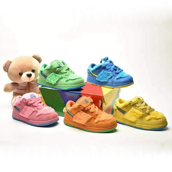 Greteful Toddlers Kids Deads X SB Duncs Low Green Spark Bright Orso Orso Opti Giallo Blu Fury Little Bambini NK Scarpe da skateboard