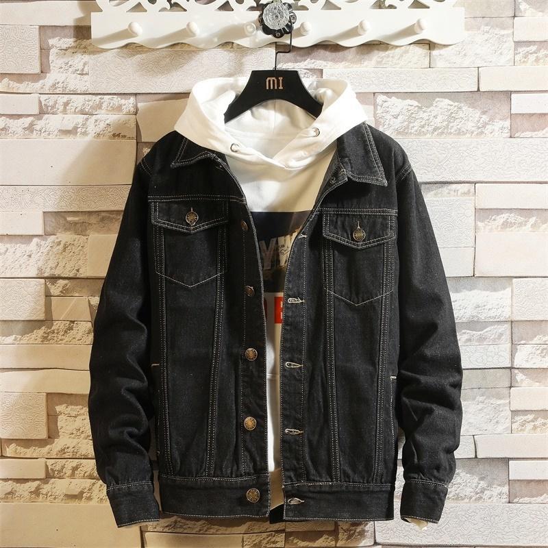Сплошной высококачественный ковбой одежда мужская повседневная стройная джинсовая гомбер Chaque Mens Jean Bomber куртка размером 4XL