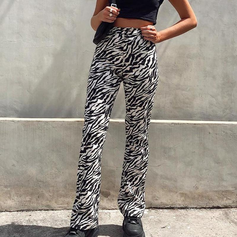 Y2K Yüksek Waisted Flare Pantolon Kadınlar Casual Hayvan Zebra Düz Uzun Pantolon Bayan Moda Pembe Harajuku Joggers yazdır