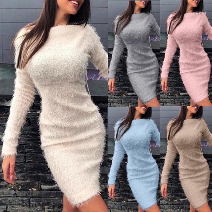 Frauen des Normallack mit hohen Taille O-Ausschnitt Langarm Quaste Kleider Herbst-Winter-beiläufige Art und Weise Frauen Kleidung Sexy Kleider Fleece