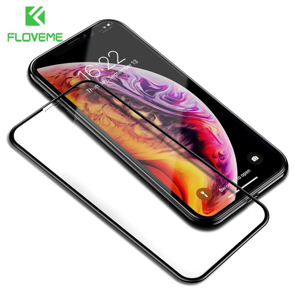 iPhone FLOVEME vidro temperado Para X Xs Max vidro 9H 0,25 milímetros cobertura completa protetor de tela para o iPhone Xs XR vidro de proteção da película 3D
