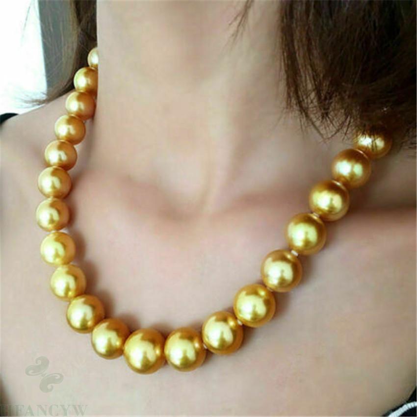 Énorme 16mm South Sea Shell Pearl ronde collier de perles d'or 18 pouces Accessoires Aurora Classic Irrégularité Culture Q0127