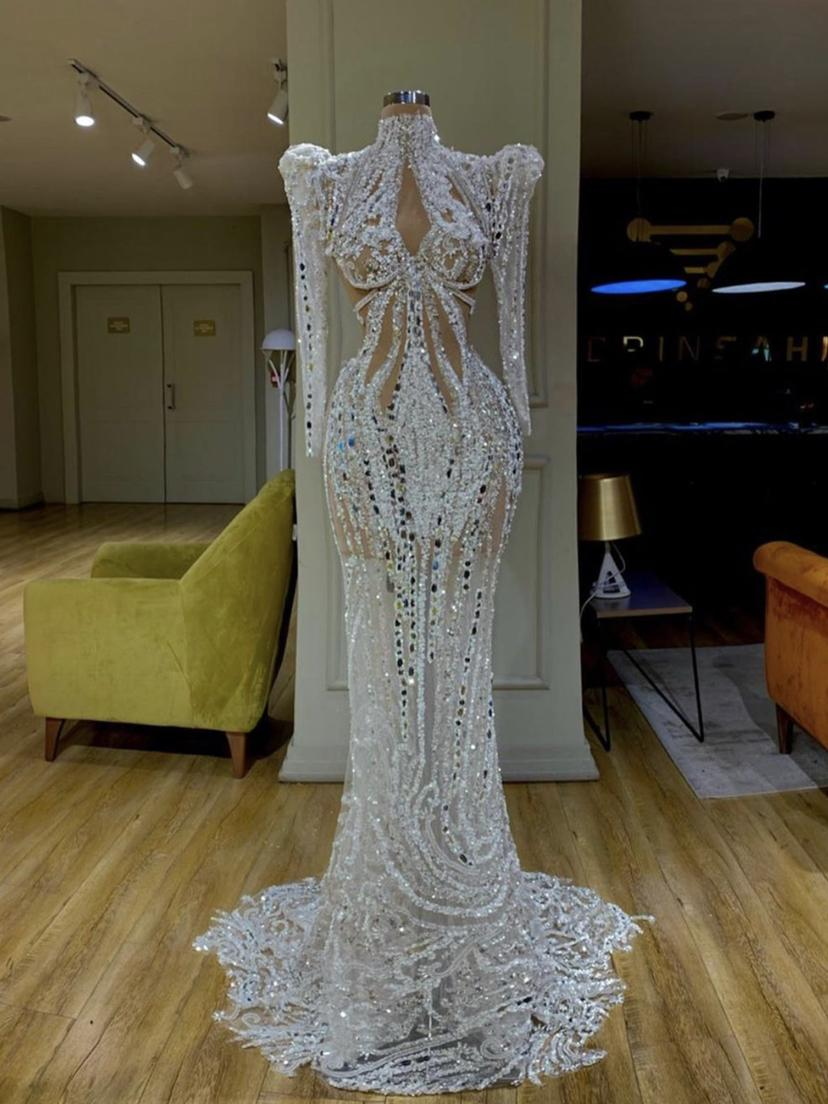 Luxury Sparly Mermaid Prom Party Dresses Lace Sweep Train High Neck Plus Size Beaded Real Picture Long Sleeve Evening Gowns