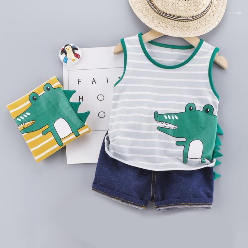 Niedliche Kleinkind Junge Sommer Set New Cartoon Drucken Kurzarm Hemd Hosen Für Kind Baby Jungen Kleidung Kleinkind Jungen Kleidung1