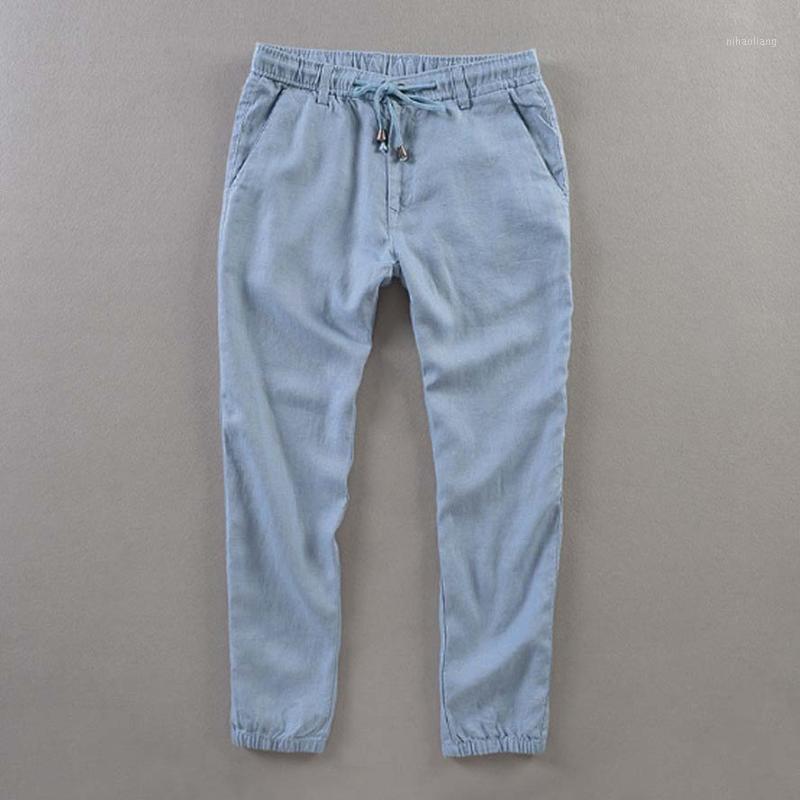 Мужские летние повседневные брюки натуральные 100% льняные брюки белые льняные упругие талии прямые бегуры штаны1