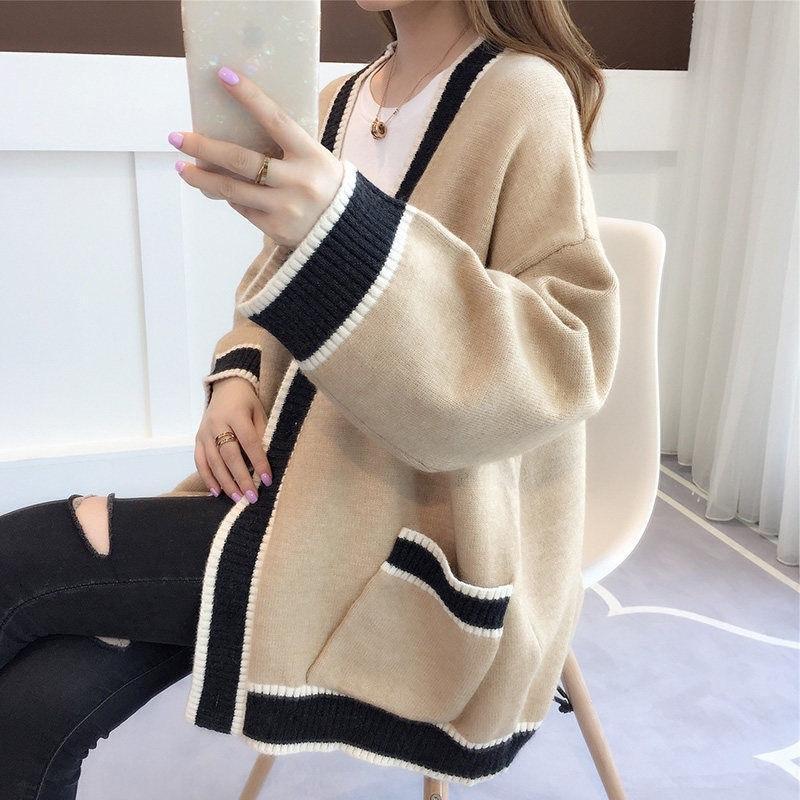 7DFWB Herbst und Fee Frühjahr 2020 Herbstfrauen Wolljacke langen loser Mantel koreanische Pullover faul Pullover Frauen Windmantel UDNwp