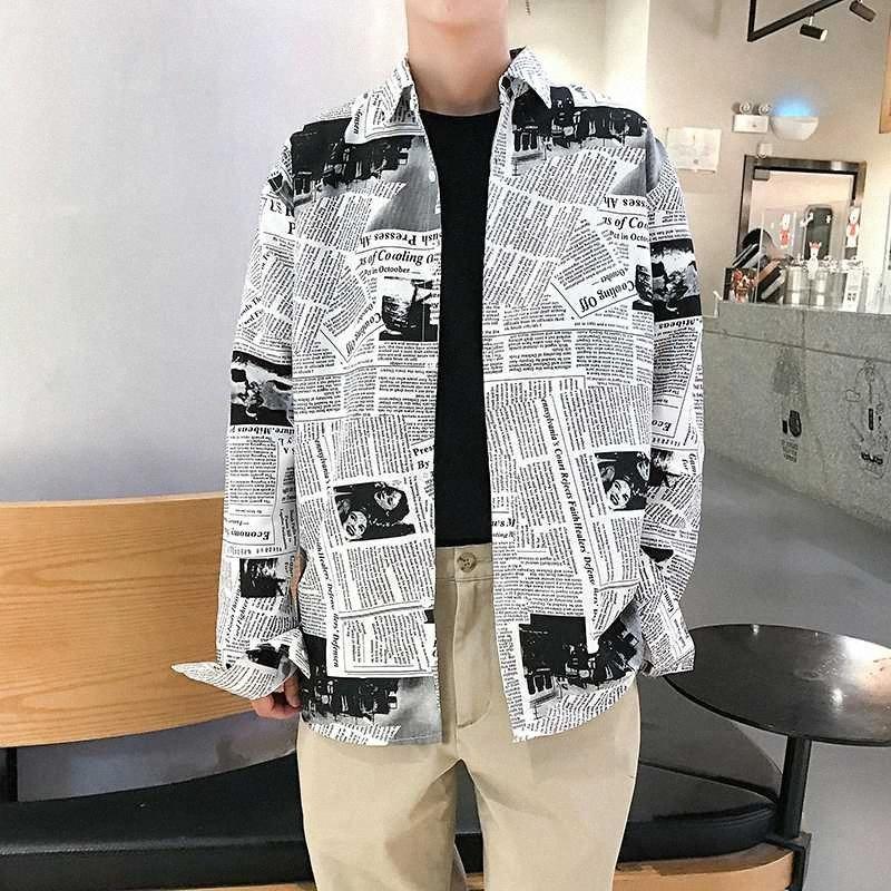2020 2020 di autunno della molla di modo degli uomini Harajuku giornali Stampa Hip Hop Top a manica lunga casuale allentata camicia Abbigliamento Streewear glWr #