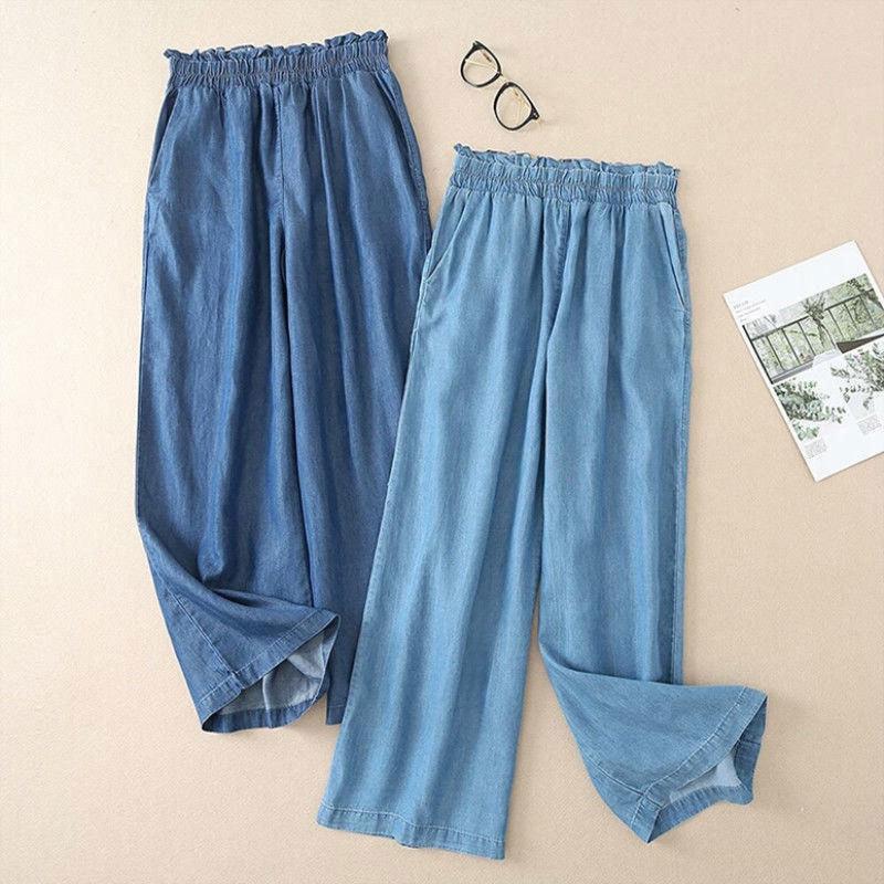 FJE İlkbahar Yaz Moda Kadın Kot Yüksek Bel Gevşek Ince Geniş Bacak Kot Pamuk Denim Rahat Ayak Bileği Uzunlukta Pantolon Artı Boyutu LJ201013
