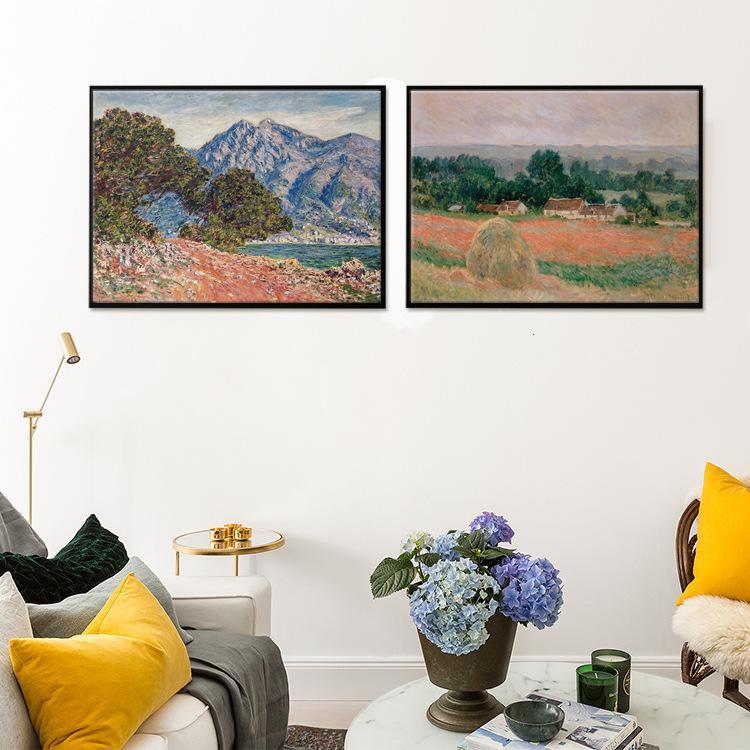Arte espacio Monet abstracto paisaje óleo decoración de hotel pintura estudio estudio modelo colgando murales europeos