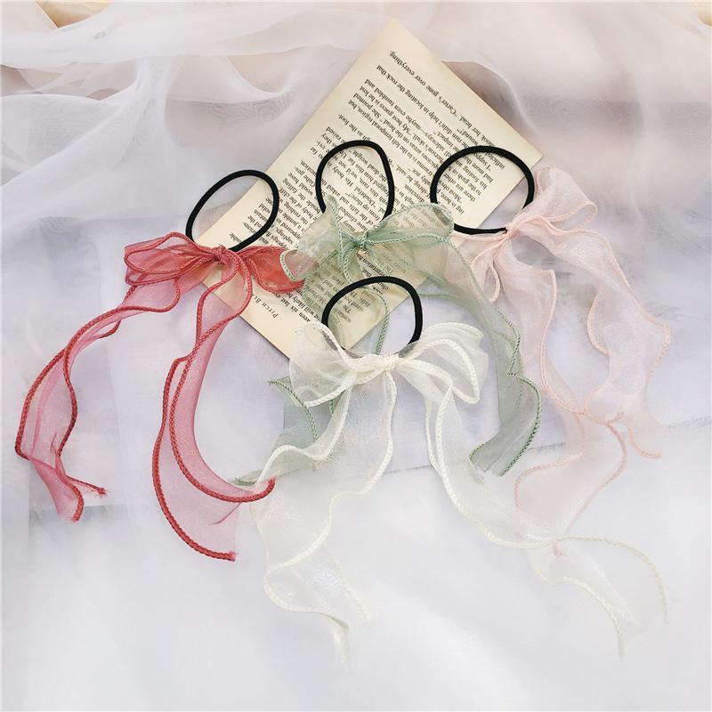 2020 automne Corée Fée cheveux corde rubans de soie élastique cheveux doux grandes filles Bow anneau accessoires