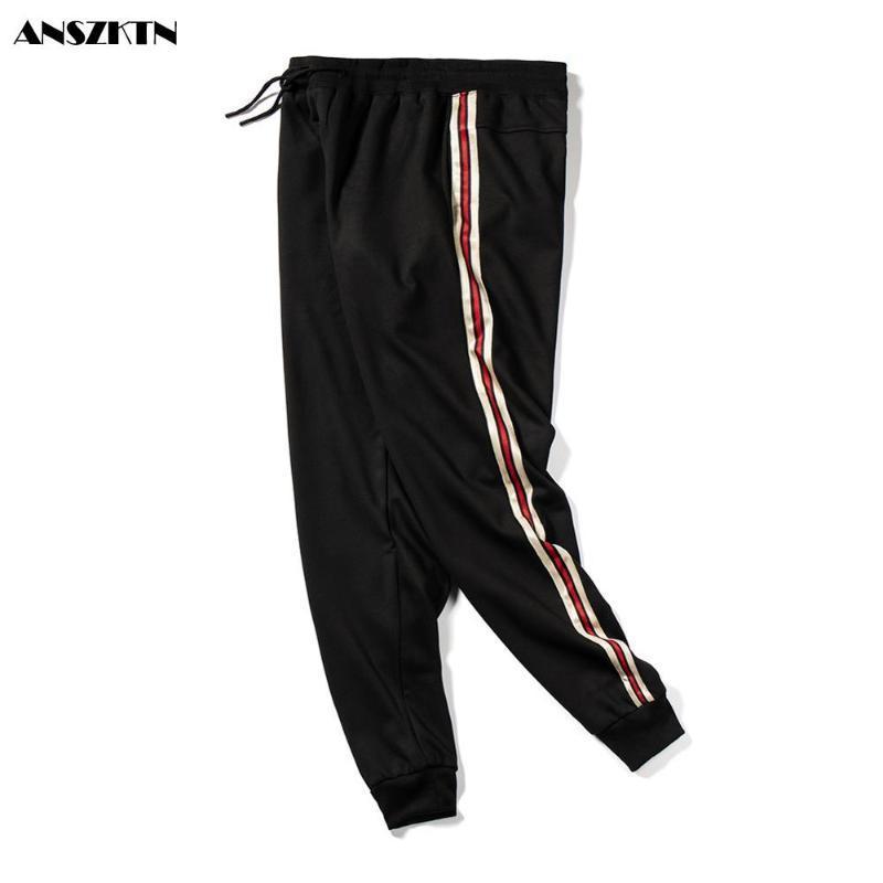 Erkek Pantolon Erkekler Çizgili Rahat Spor Sweatpants Pamuk Elastik Bel Hip Hop Pantolon Erkek Giyim Pantalons Pour Hommes 3XL4XL