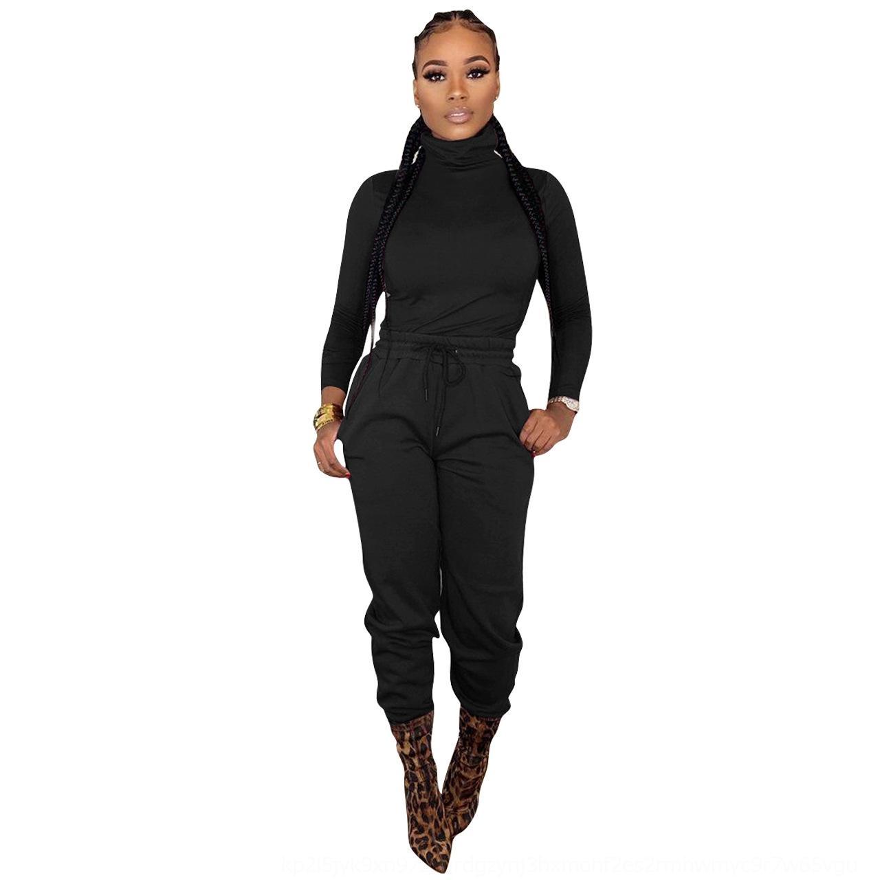 FHAHR YD8160 YD8160 GİYİM 2020 GİYİM 2020 kadın Katı Renk Eğlence Yüksek Yaka Bel Bağlama İki Parçalı Kadın Giyim
