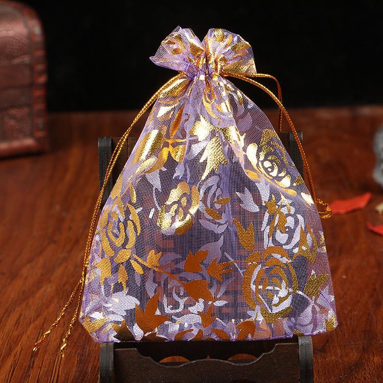 Bronzing شبكة متعددة الألوان الأورجانزا اللؤلؤ غزل حقيبة 100 قطعة / الوحدة 7 حجم عيد الميلاد الرباط هدية حقيبة سحر مجوهرات أكياس تغليف الحقائب