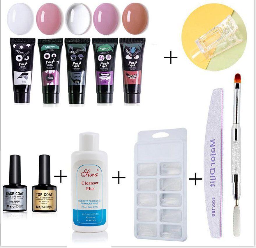 12pcs set Poly gel nail Art Fashion nail tools extended gel manicure set manicure set