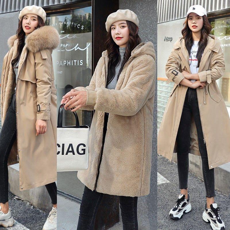 Fitaylor Winter Women Jackets Warm Fleece Hooded Coats -30 Degree Long Thickness Parkas Plus Size Large Fur Collar Snowoutwear 201014