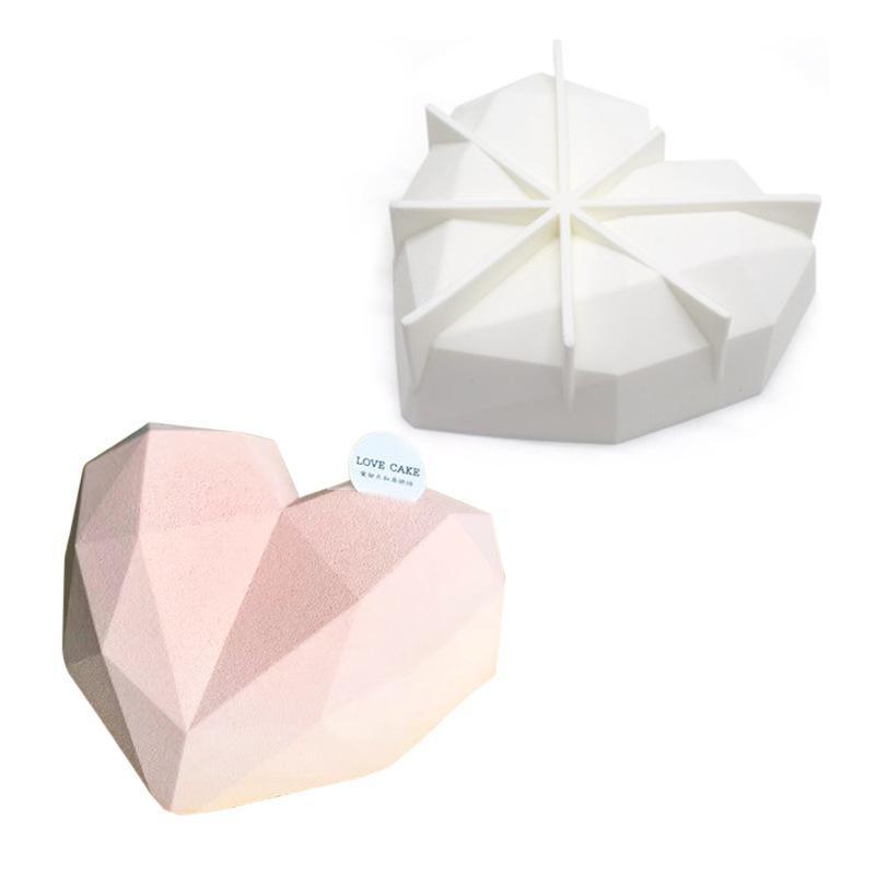 Stampi in silicone cuore fragili per la muffa del torta del diamante del cioccolato Stampi del cuore della rottura per la torta della mousse del cioccolato KKD4052