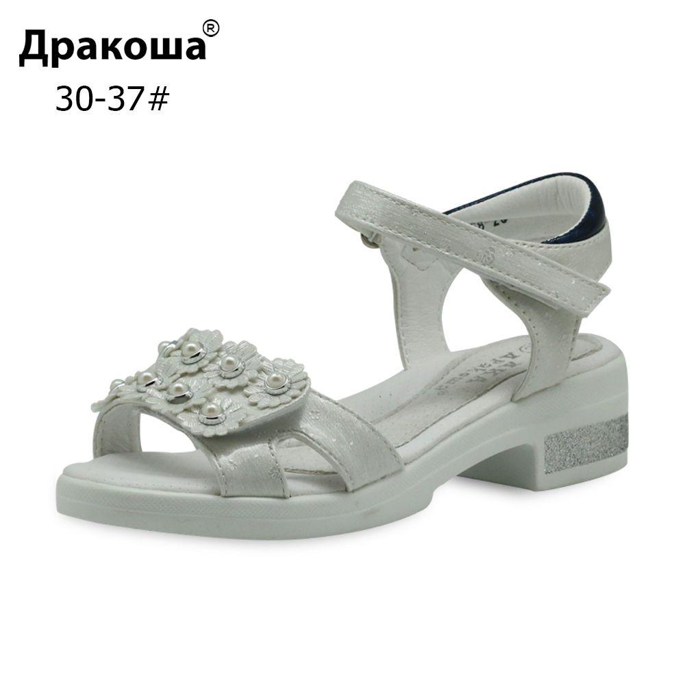 Apakowa Eur 30-37 Mode Big Girls Sandales d'été en cuir PU orthopédiques Chaussures pour enfants avec Perle fleur pour Beach Party New