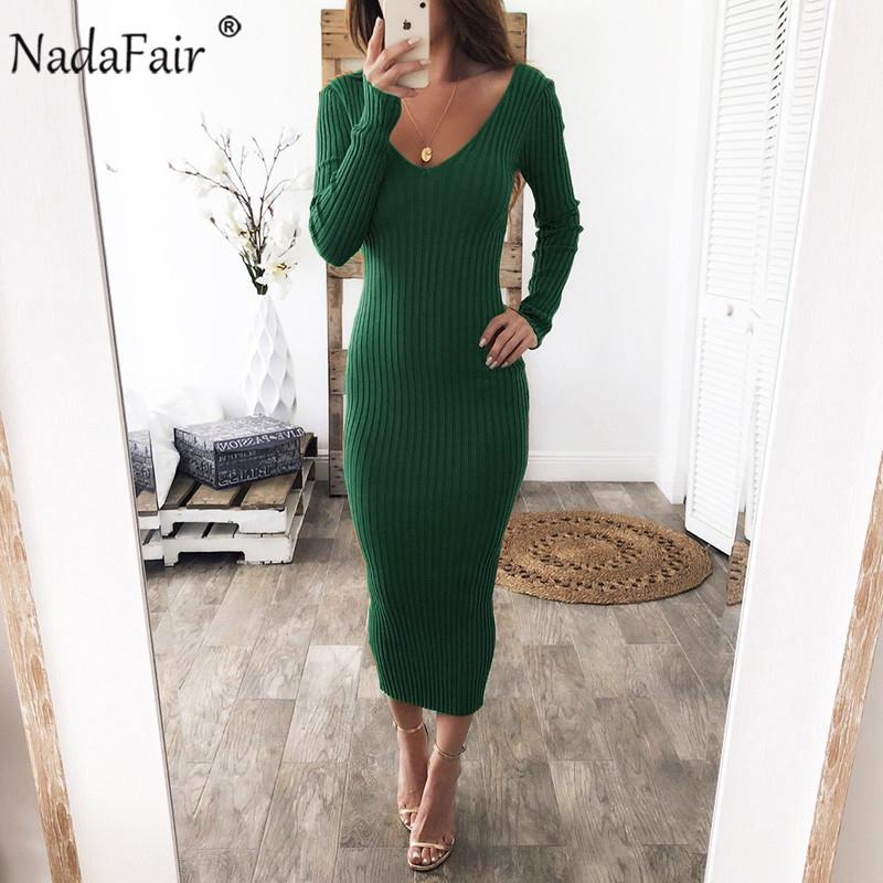 NADAFAIR BodyCon Dress Dress Dress Dress Stretchy Manica lunga Sexy Off Spalla Black Bianco Bianco Slim Slim MIDI Abito invernale Y0118