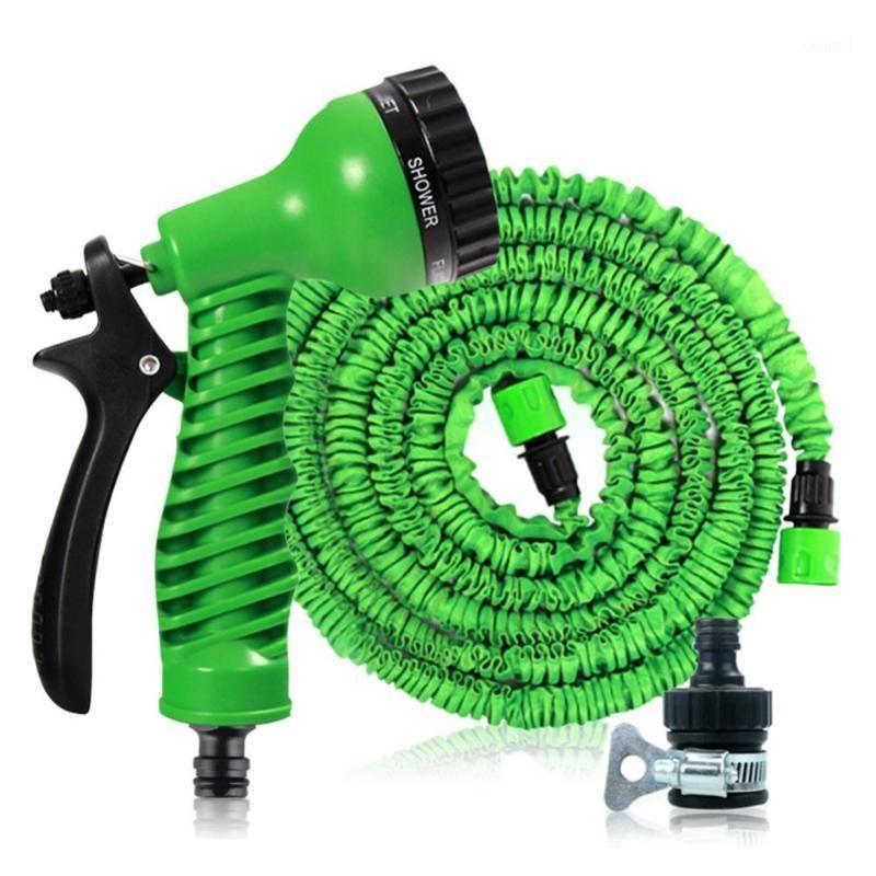 Sulama Ekipmanları Sihirli Bahçe Su Hortumu Esnek Genişletilebilir Makaralar Boru Araba Konnektörü Sprey Gun1 ile Sulama