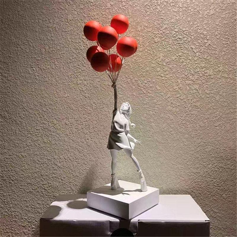 Lujoso Globo Chica Estatuas Banksy Flying Globos Girl Art Sculpture Resin Craft Decoración del hogar Regalo de Navidad 57cm FY4329