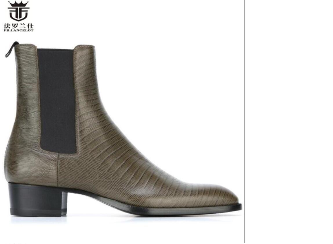 brandneuen Männer drucken Lederstiefel britische Art Punkt Zehe Knöchel Stiefel hohe Qualität niedriger Ferse Partei Männer Stiefel