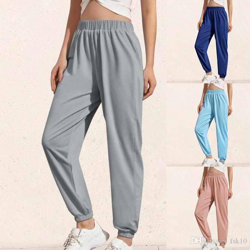 Женский Сыпучий Joggers Wide Leg Sweatpants Женщина Брюки Плюс Размер Мягкой высокой талии Брюки Streetwear Корейской Повседневная Йога Pant Femme