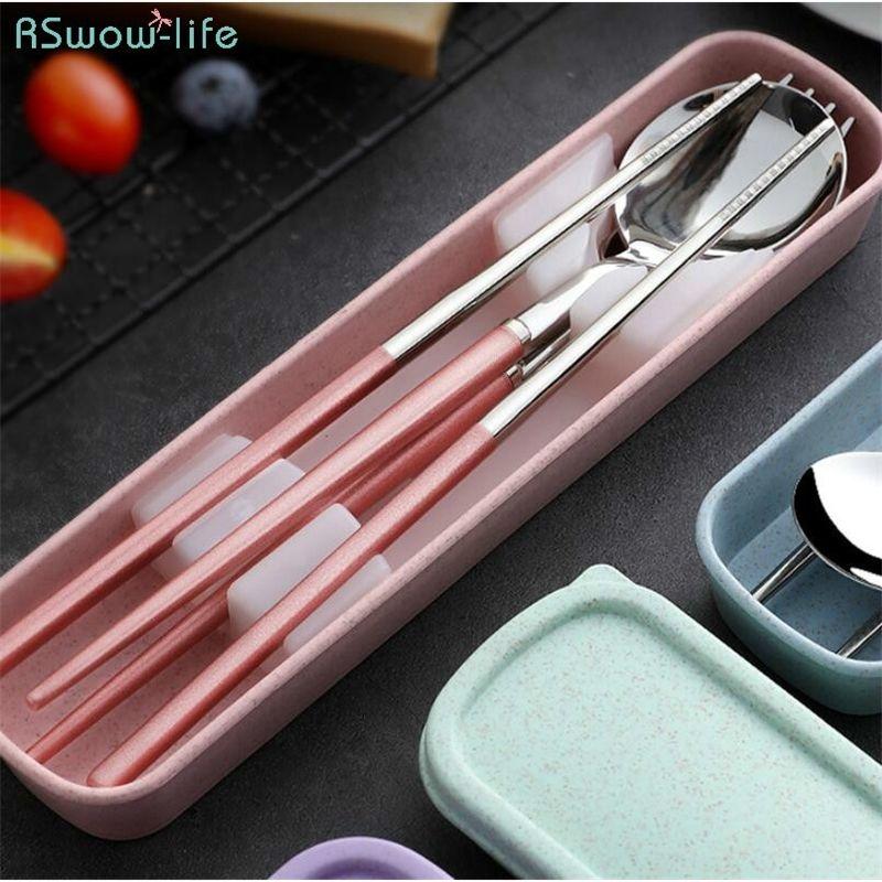 304 Stainless Steel Chopsticks Spoon Set Fork Creative Adult Portable Korean Tableware Students Outdoor Tableware Cutlery Set Y200610
