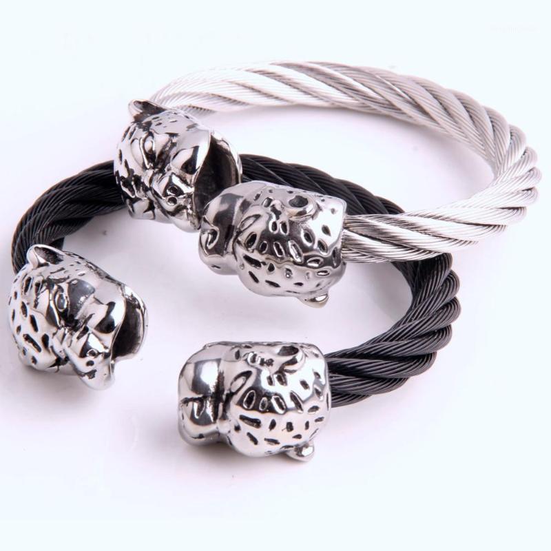 Gioielli da uomo in acciaio inox argento colour colore leopardo filo catena contorto catena cool mens gioielli regalo di alta qualità 87g1