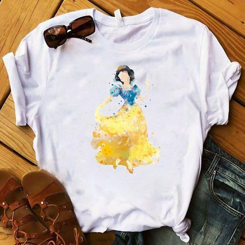 Женщины леди футболка рубалка принцесса принцесса печать футболки женские с коротким рукавом свободная футболка женские женщины женские топы одежда графическая футболка