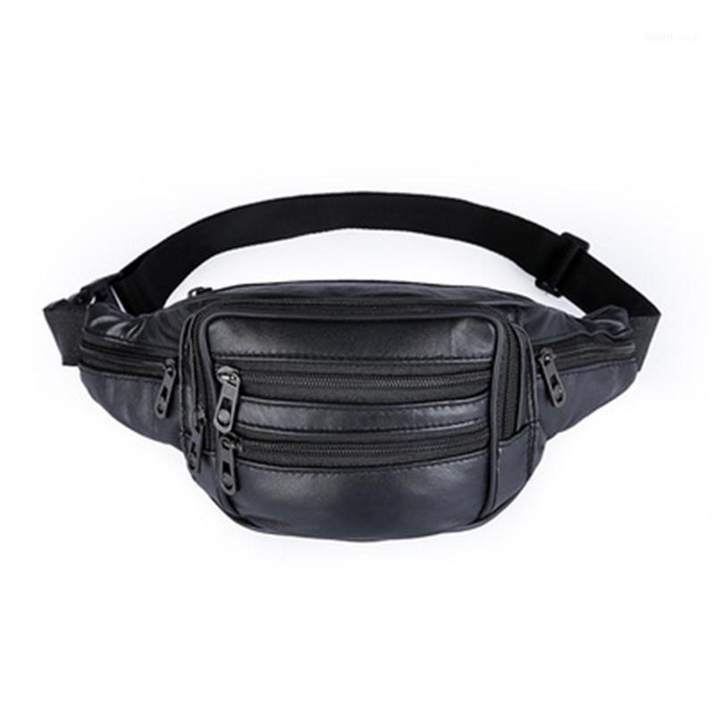 New Hombres Fanny Pack Multifuncional PU cuero de cuero de la cintura Travel Money Belt Phone Bag Black Male Ocio Ocio Bag1