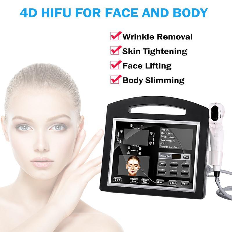 Máquina 4D HIFU Máquina de eliminación de arrugas portátil para el ajuste de la piel Tratamiento facial 8 Catridges 12 líneas Cada tiroteo Envío gratis