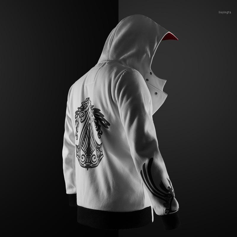Мужские толстовки для толстовки для толстовки Готический капюшон уличная одежда 2021 человек повседневная мода черный 5 цветов плюс размер S-4XL Assassin Hoodies1