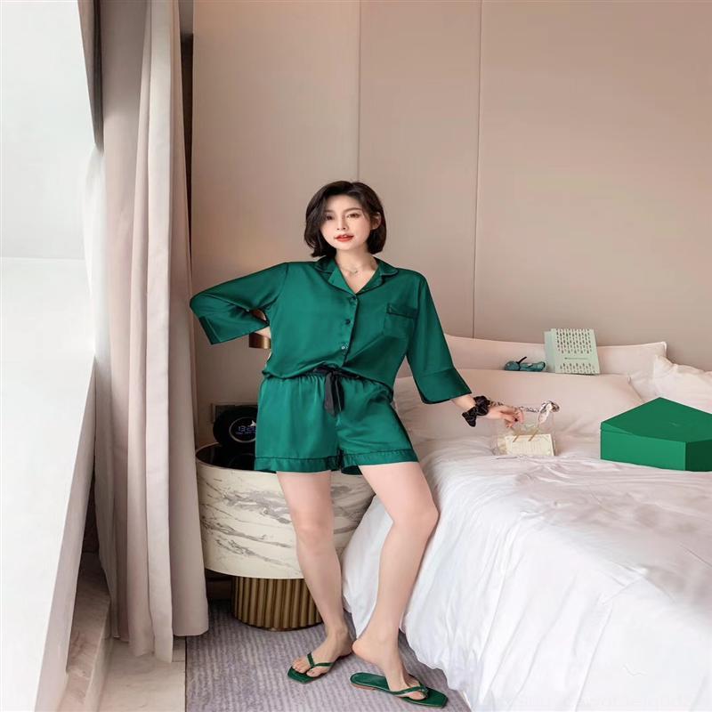 1ГНМ Летние женские ледяные шелковые короткими рукавами сплошные две домашние одежды Shortsshorts и шорты Pajamas девушки сексуальная домашняя одежда