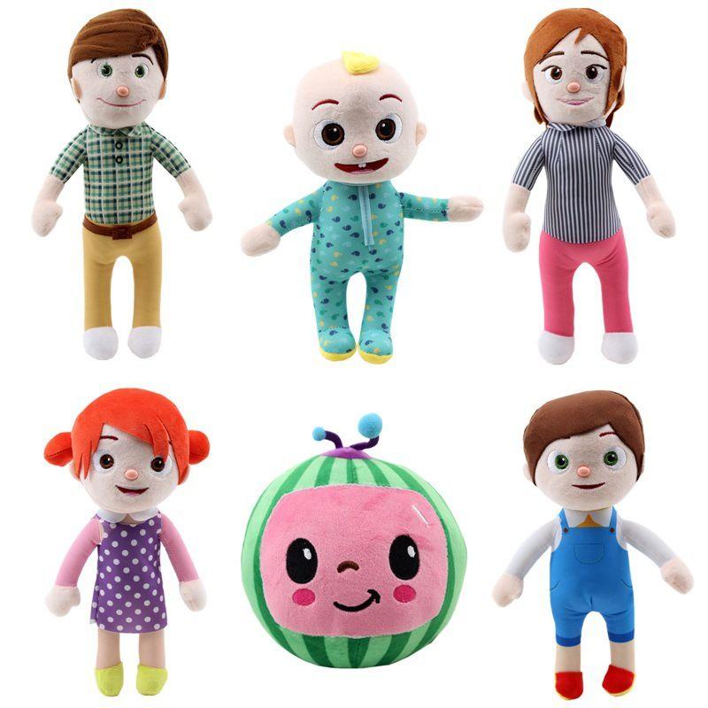 DHL gratuit Cocomelon Peluche Toy 15-33cm Soft Dessin animé Famille Cocomélon JJ Family Sœur Brother Mom et papa Toy Dall Enfants