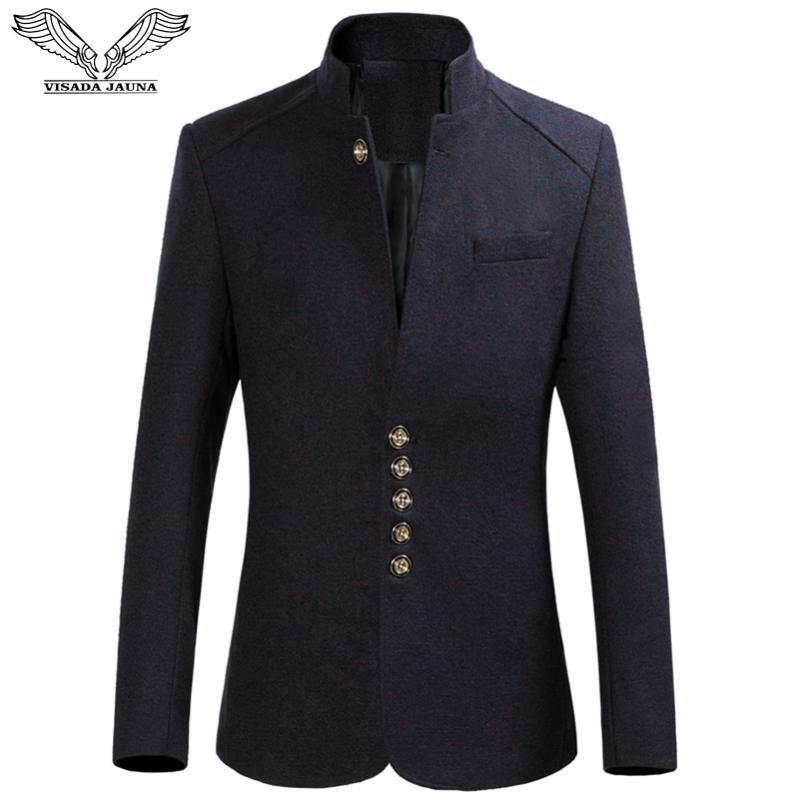 DA Jauna Männer Klage-Mantel-Herrenanzüge Stehkragen Geschäfts Causal Slim Fit Male Massiv Tops Kleidung für Outwear 6XL