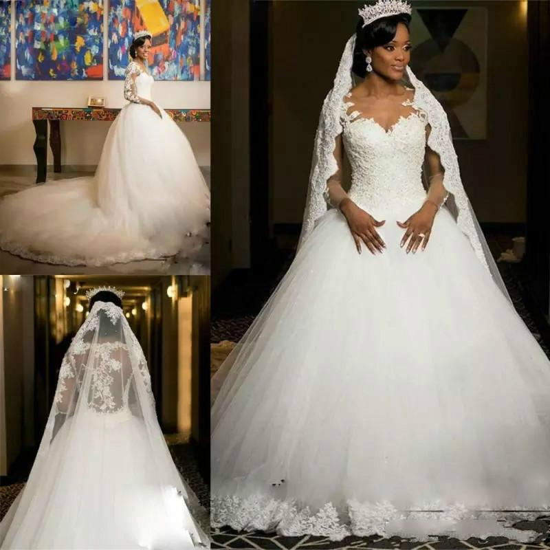 African Ball Gown Lace Wedding Dresses Vintage Appliques Illusion Long Sleeves Plus Size Bridal Gowns Cathedral Train Tulle vestido de novia
