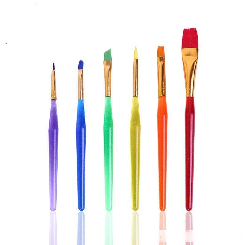 6PCS / مجموعة الأطفال فرشاة الألوان المائية الشفافة كاندي اللون الفن اللوازم الطلاء دائم الطلاب لينة فرشاة رسم القلم