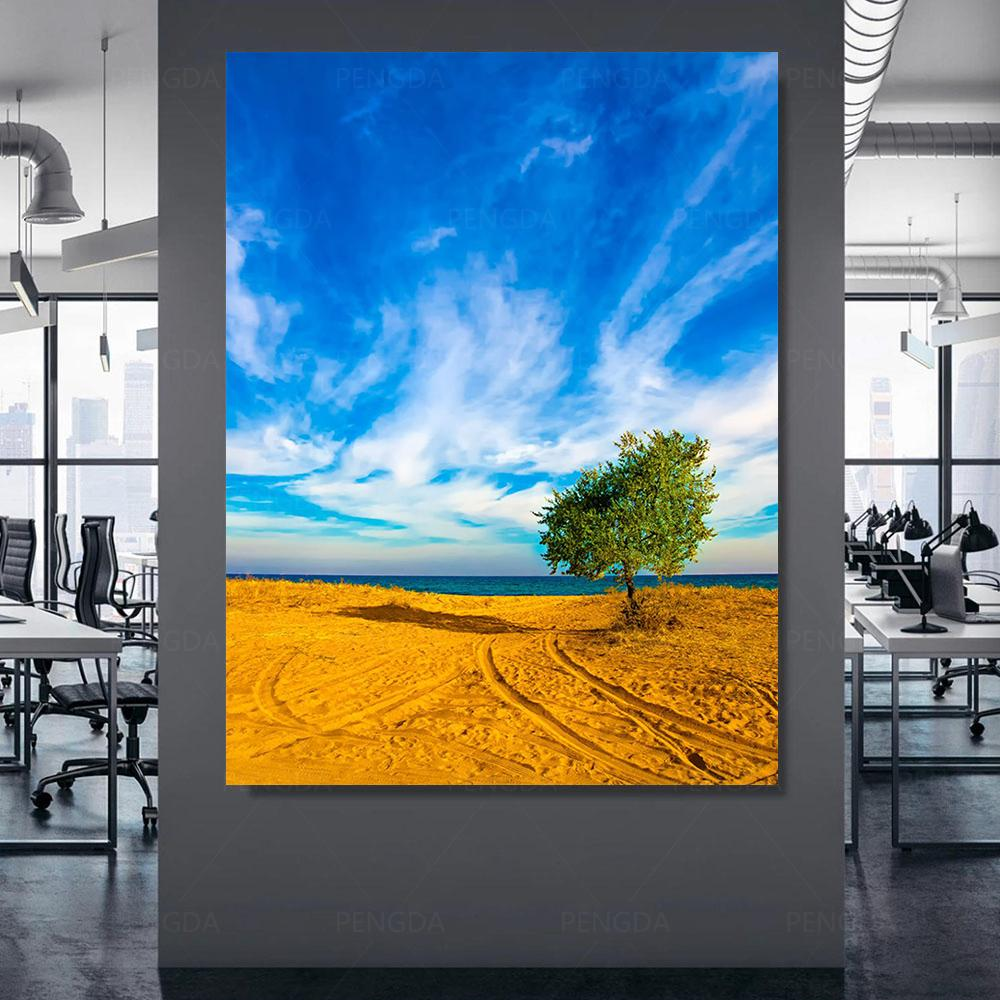 Canvas Poster Modern Blue Sky Home Decor Print Tree Painting Wall Artwork Yellow Sand Modular Landscape Picture For Living Room