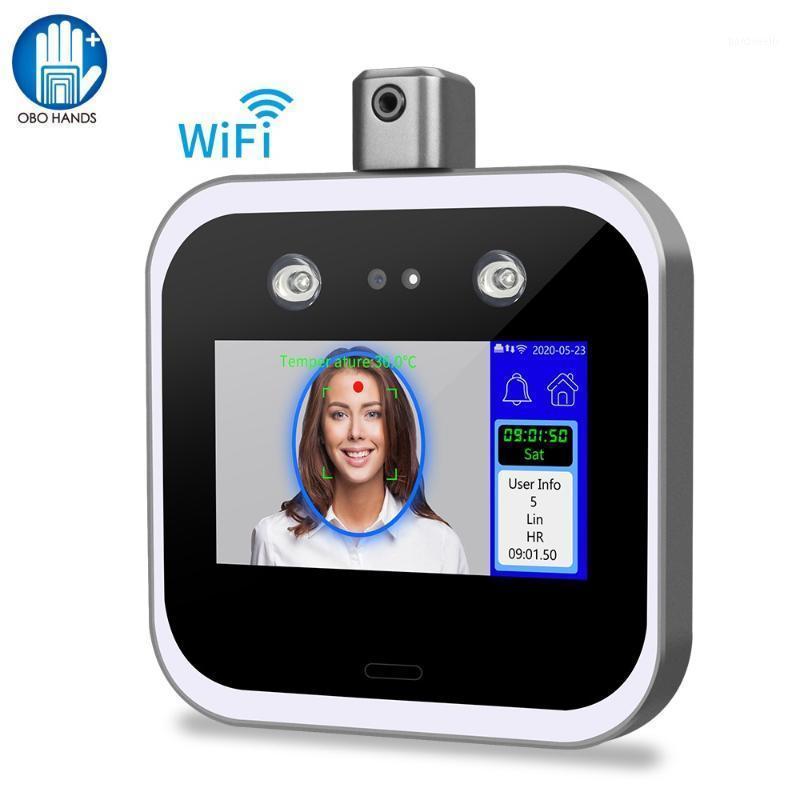 WiFi / TCP / IP كشف درجة الحرارة الأشعة تحت الحمراء التعرف على الوجه محطة التحكم في الوصول آلة الحضور آلة 5 بوصة تعمل باللمس 1