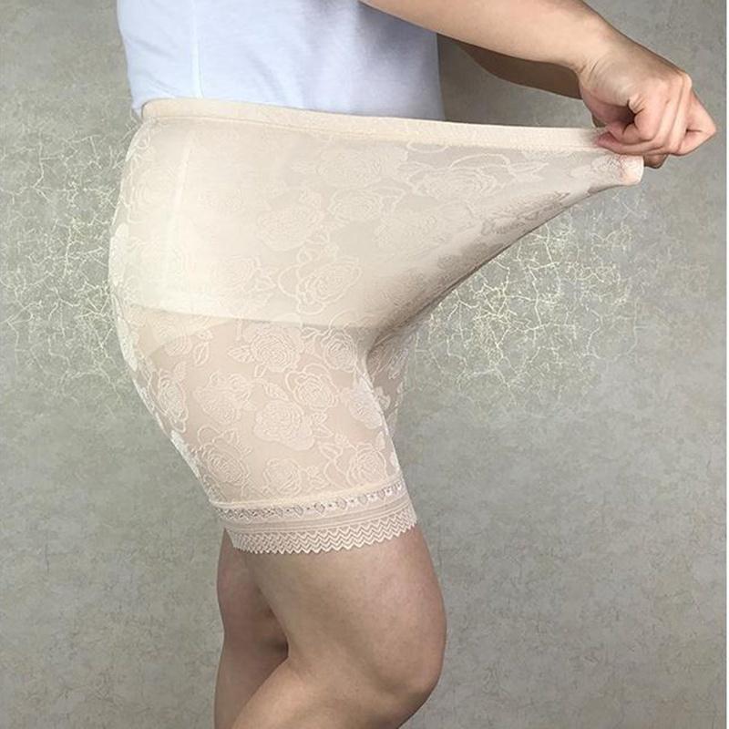 Max 120kg Tallas grandes Alto Pantalones de encaje de tejido de jacquard altos, Patas Anti Blancas Pantalones grandes Pantalones cortos de seguridad Mujeres 4547 6XL, 5XL T200216