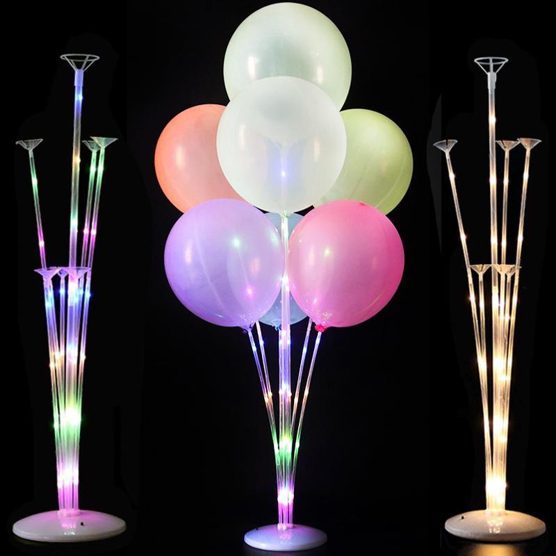Украшение вечеринки 1 / 2set Светодиодный свет воздушный шар стойка столбец свадебный декор день рождения дети для взрослых событий баллоны аксессуары