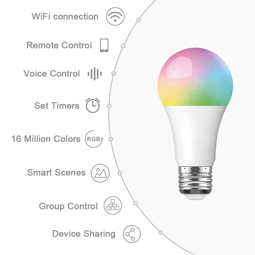10W WiFi Smart Light Lampadina B22 E27 E26 LED lampada RGB Lampada con Alexa / Google Home 85-265V RGB + Bianco + Funzione timer dimmerabile a freddo Funzione Magia Magia