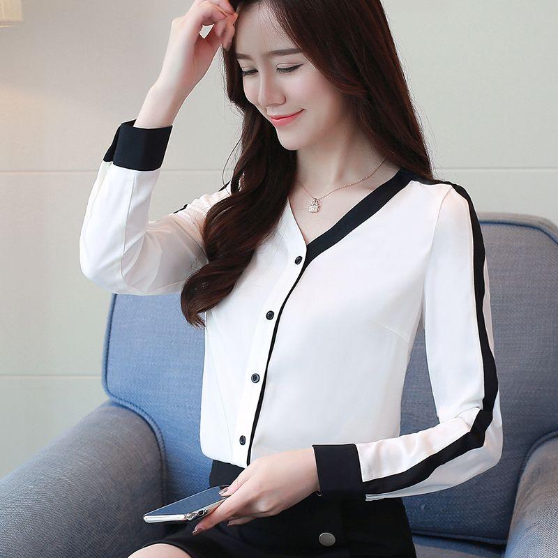 Oficina color de costura de la gasa de manga larga Nueva otoño de las mujeres inferior camisa blusa de las mujeres de Corea de cuello V Blusa Tops 623A 201028