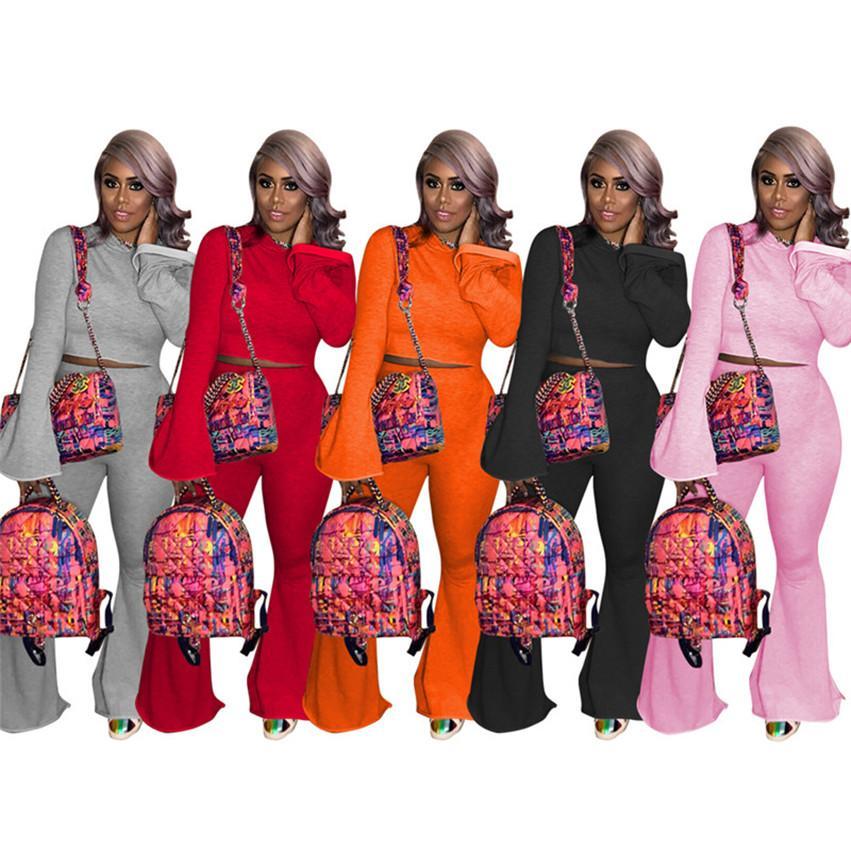 Женщины 2 шт. Набор нарядов Сплошные цветные толстовки Широкие брюки для ног Стерситы Пуловерногинсы S-3XL трексуиты осень осень зима бегая костюмы 4149