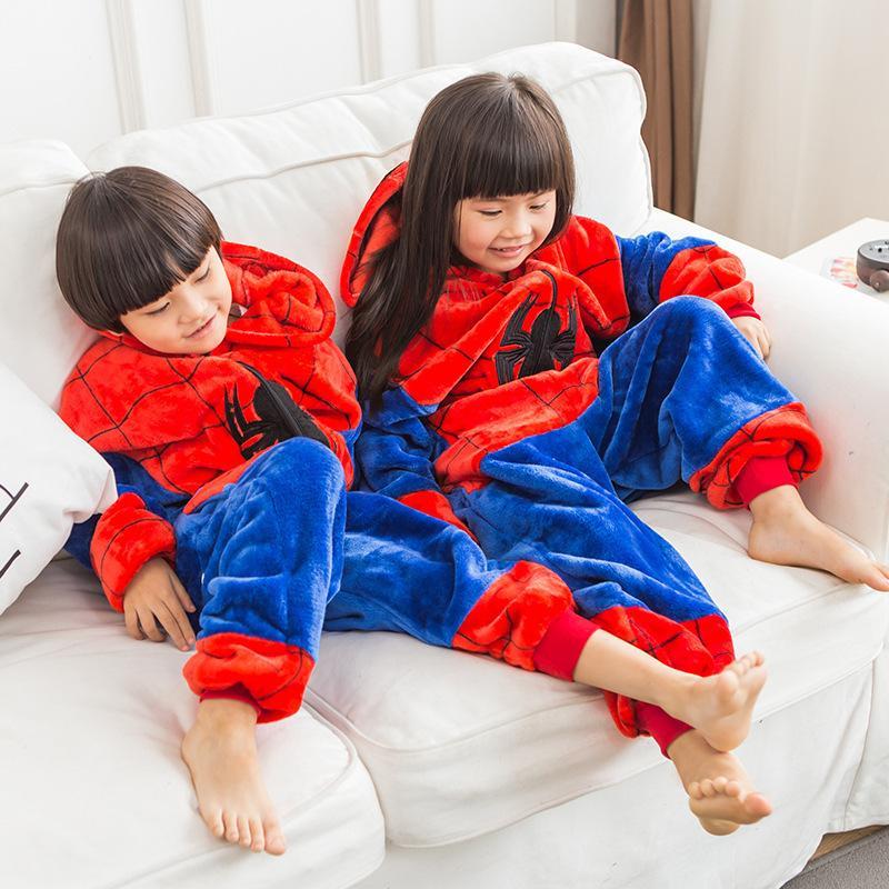 Boy Kız Pijama Çocuk Yeni Unisex Pijamas Örümcek Dikiş Kid Karikatür Hayvan Cosplay Pijama Onesie pijamalar Hoodie