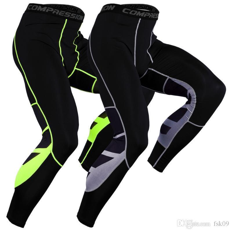 2020 Pantalones hombre compresión del deporte del baloncesto Mallas de running de los pantalones elásticos de alta aptitud Culturismo