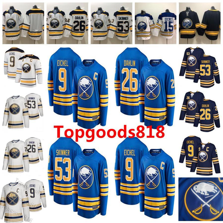 Buffalo Sabers Jack Eichel Rasmus Dahlin Джефф Скиннер Пустая Нет Наименование Нет Номер Royal Home Navy Blue White Away Shiled Hockey Thereys