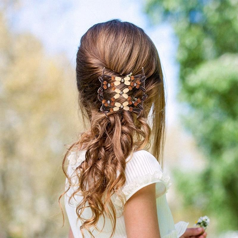 6Pcs / set Beads elastica dei capelli afro della clip del pettine dei capelli Magia pettine Stretch che designano gli attrezzi intrecciatrici per le donne Ragazze ZpQK #